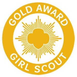 Gold Award Girl Scout with Girl Scout Logo in Gold