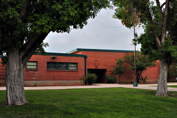 Red Brick Hudlow School Building,With Tree